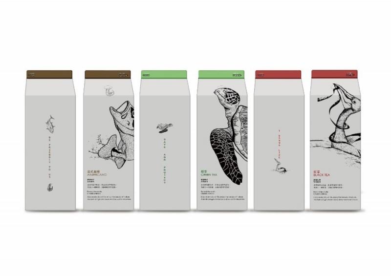 國立聯合大學建築學系D&A Lab師生在利樂包上繪製海龜、魚、鳥等圖案,結合環保關懷生態設計,勇奪德國紅點品牌及傳達設計獎。(聯合大學提供)