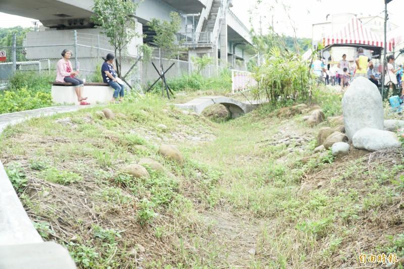 高鐵橋下聯絡道二期二階工程,截彎取直引溪水做綠美化,及建置人行道,提供民眾散步、休憩。(記者廖雪茹攝)