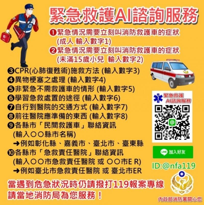 內政部消防署推出LINE官方帳號「緊急救護 AI 諮詢服務」(記者陳薏云翻攝)