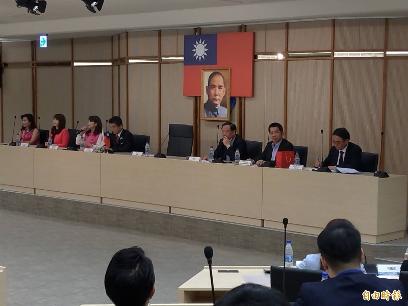 日本國會議員拜訪韓國瑜,韓竟遲到快半小時。(記者王榮祥攝)