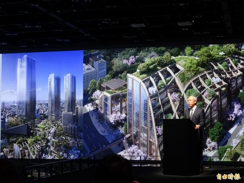 森大廈社長辻慎吾22日召開記者會,公布最新的都更案「虎之門、麻布台開發計畫」。(記者林翠儀攝)