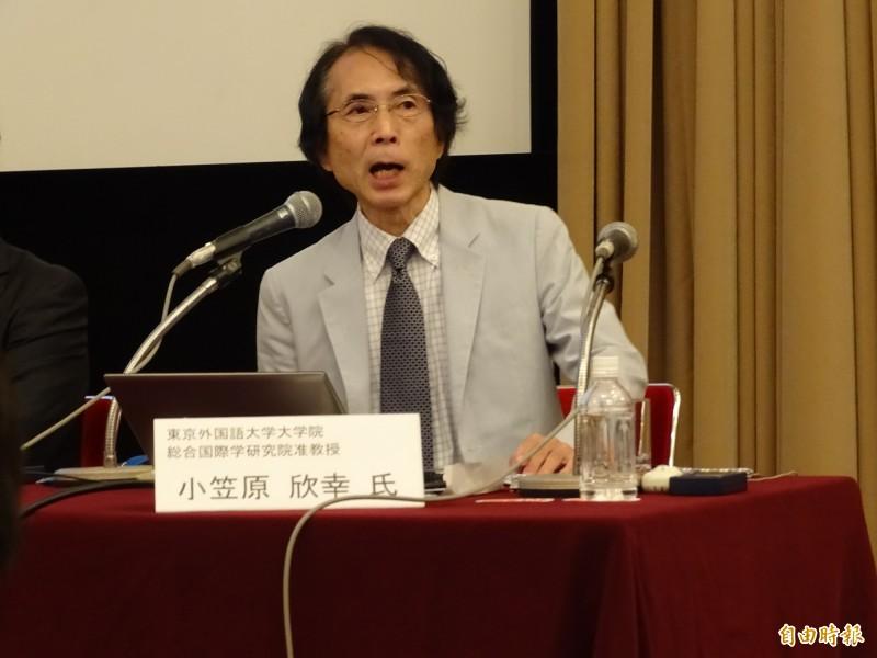 東京外國語大學准教授小笠原欣幸指出,明年台灣總統大選和過去6次大選,最大的不同之處為中國對國際和台灣的壓力預估將是史上最大。(記者林翠儀攝)