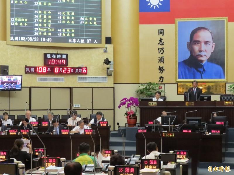 台南市議會通過議員有關香港反送中的提案,譴責香港政府並呼籲停止一切粗暴鎮壓等違反國際人權價值行為。(記者蔡文居攝)