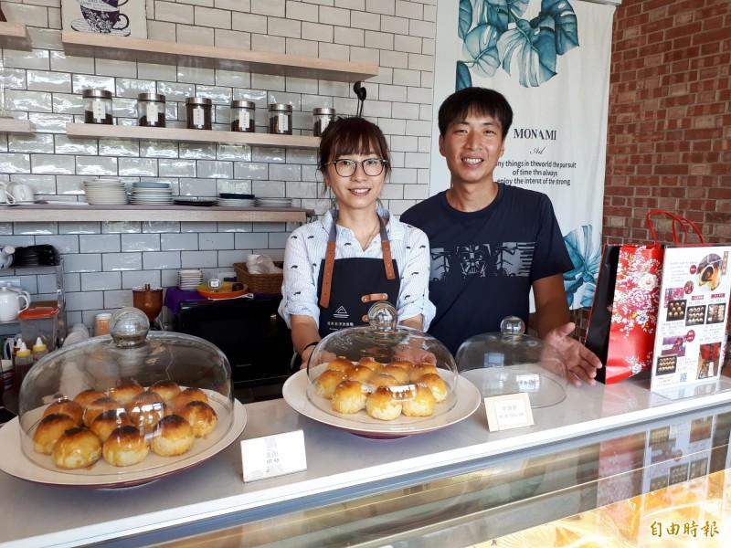 新竹市甜點師傅鄭鈞格和妻子小馨在家鄉開的甜點店就叫「沒有名字的甜點專賣」店,不僅圓開店夢,更因好吃的甜點,成了附近詢問度最高的小店。(記者洪美秀攝)