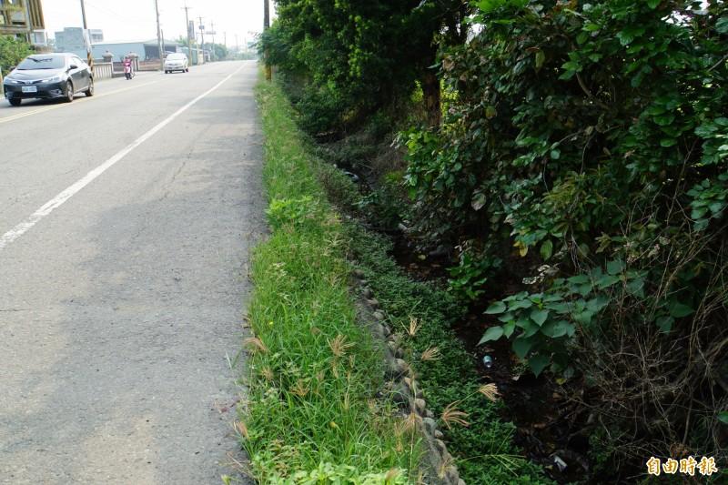 雲林縣156線道路兩側排水溝又寬又深,而且沒有加蓋。(記者詹士弘攝)