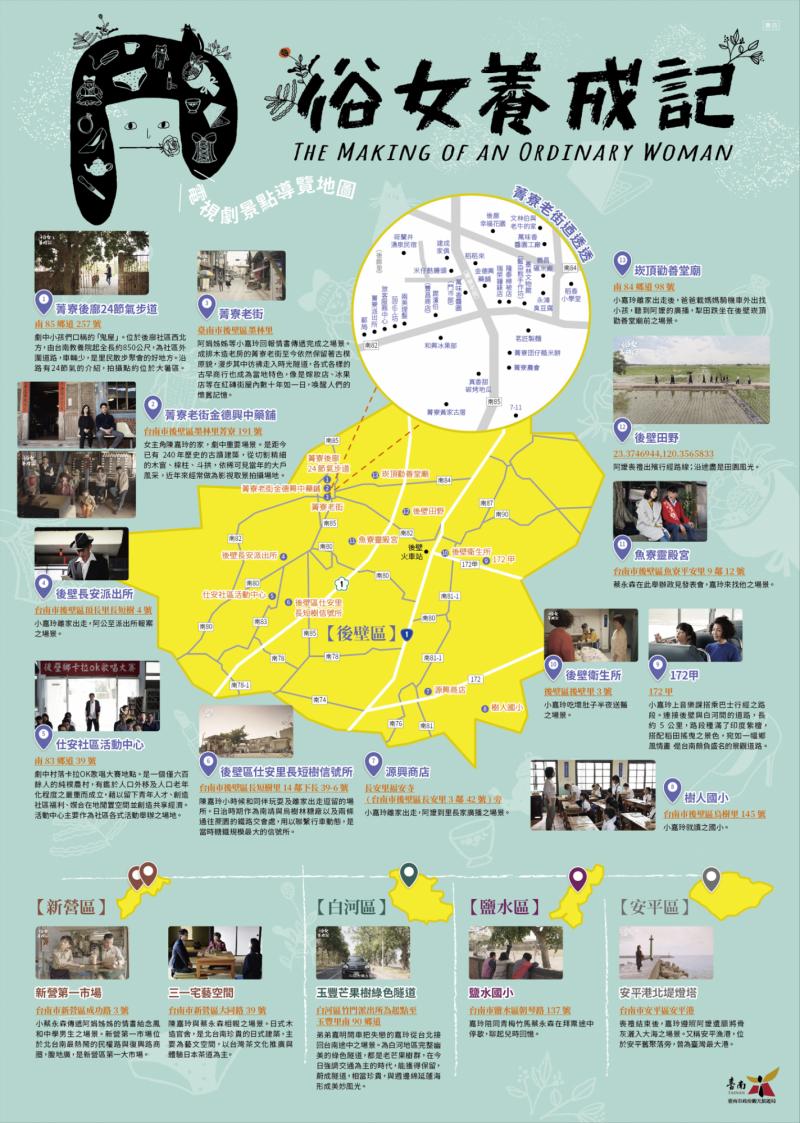 陳嘉玲的家在哪裡?南市觀光旅遊局火速製作「俗女養成記景點導覽地圖」,讓遊客在中秋連假輕鬆覓場景。(記者王涵平翻攝)