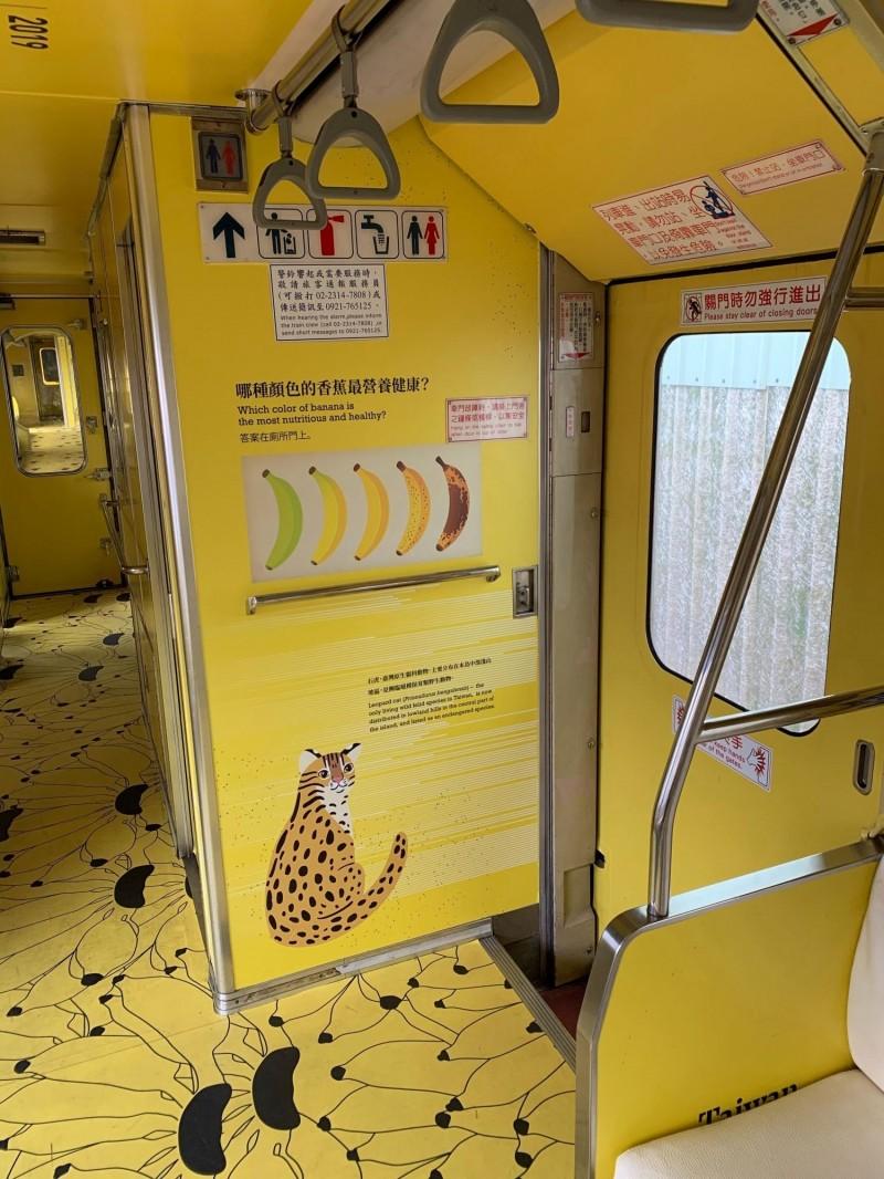 台鐵集集支線「國立集集美術館」石虎香蕉列車,車廂內的石虎圖案已完成重貼,圖為俄國插畫家繪製的石虎。(日管處提供)