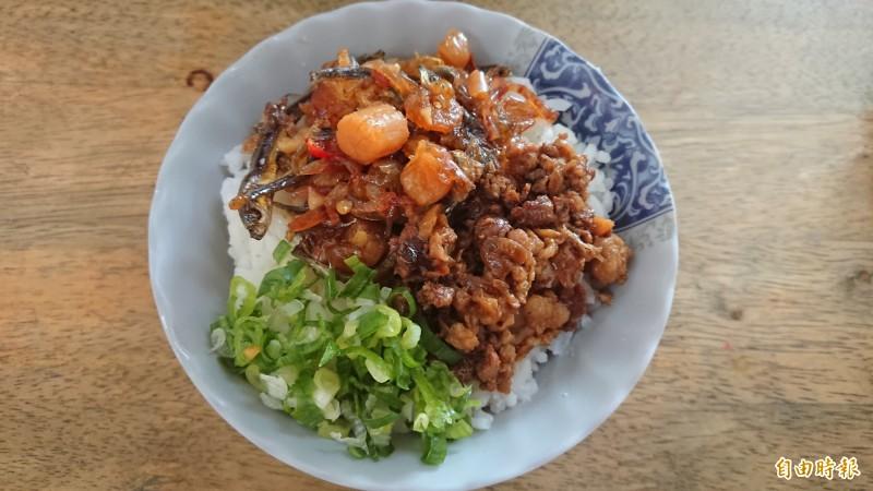 招牌XO醬飯,老闆炒配食材用料不吝嗇。(記者洪瑞琴攝)