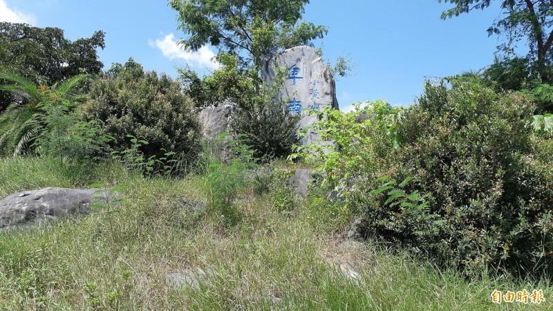 台東水利公園入口「卑南圳」巨石已被雜草雜木遮蔽。(記者黃明堂攝)
