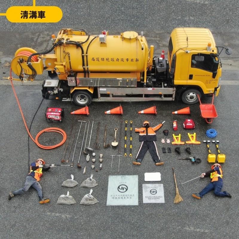 清溝車,防止水溝淤塞排水不通。(環保局提供)