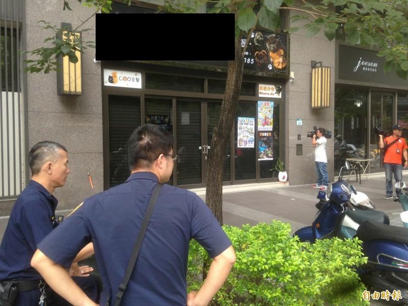 寵物店被開槍前,警方接獲假報案暫時離開。(記者黃旭磊攝)
