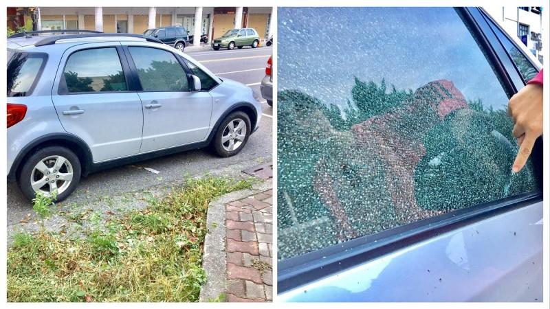 李女的車停在台東地檢署前路邊,車窗霧狀碎裂。(取自李女臉書)