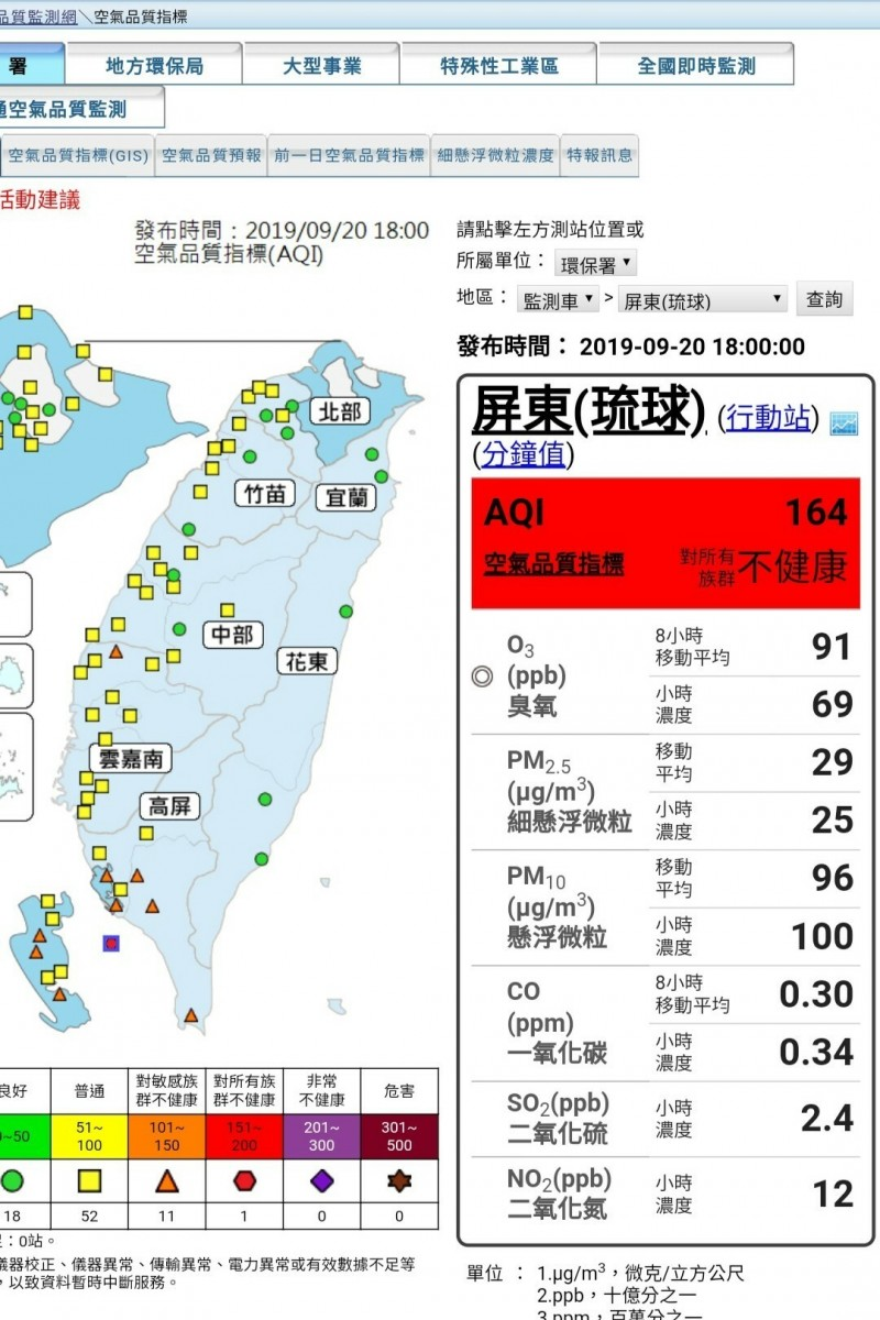 小琉球空氣品質紅爆。(取自空品監測網)