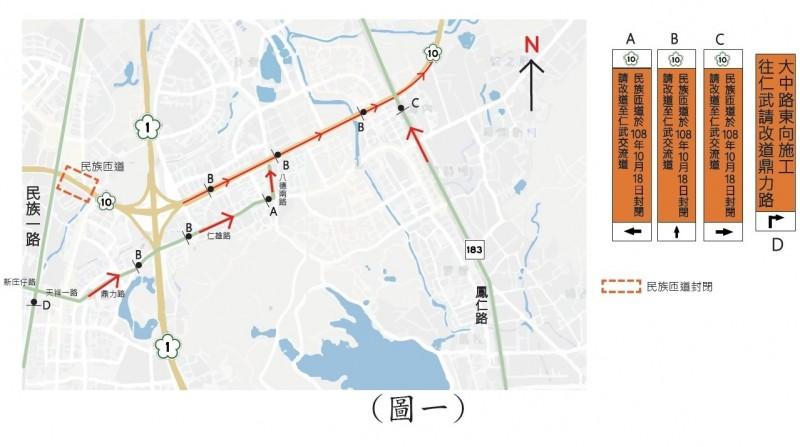 鼎金民族匝道將封閉1年,高市府提供的改道圖。(新工處提供)