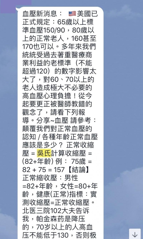 網路近來流傳「吳氏計算收縮壓」公式,還說老人家即使血壓170也不會有影響,醫師駁斥別誤信。(記者陳建志翻攝)