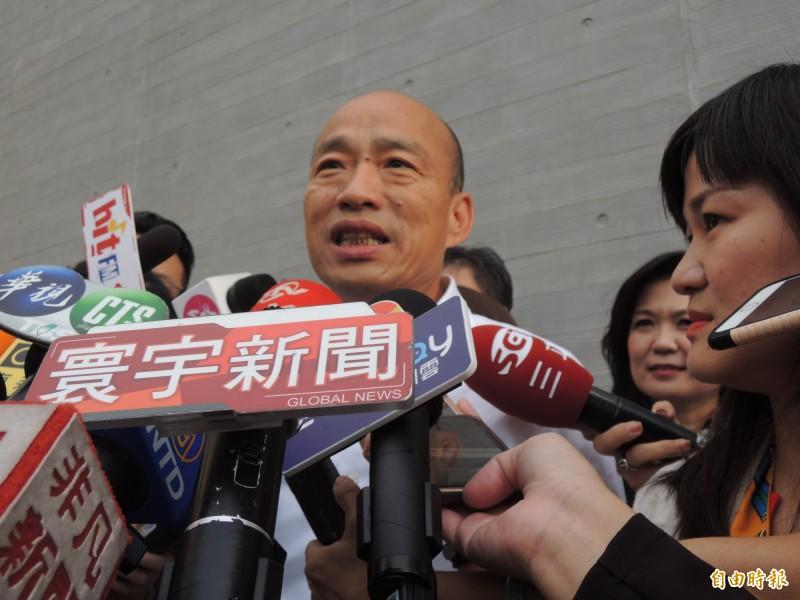 高雄市長韓國瑜低調不回應何時請假。(記者王榮祥攝)