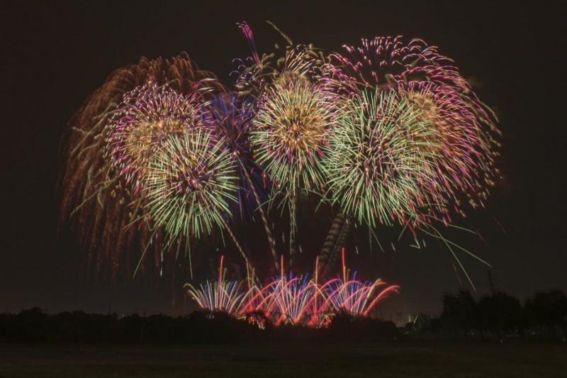 國慶焰火9月24日試放情景。(圖由屏東縣政府提供)
