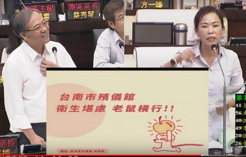議員林美燕(右)爆料南區殯儀館老鼠橫行,甚至大到像貓,啃食供品,民政局長顏振標(左)說會馬上處理。(記者蔡文居翻攝)