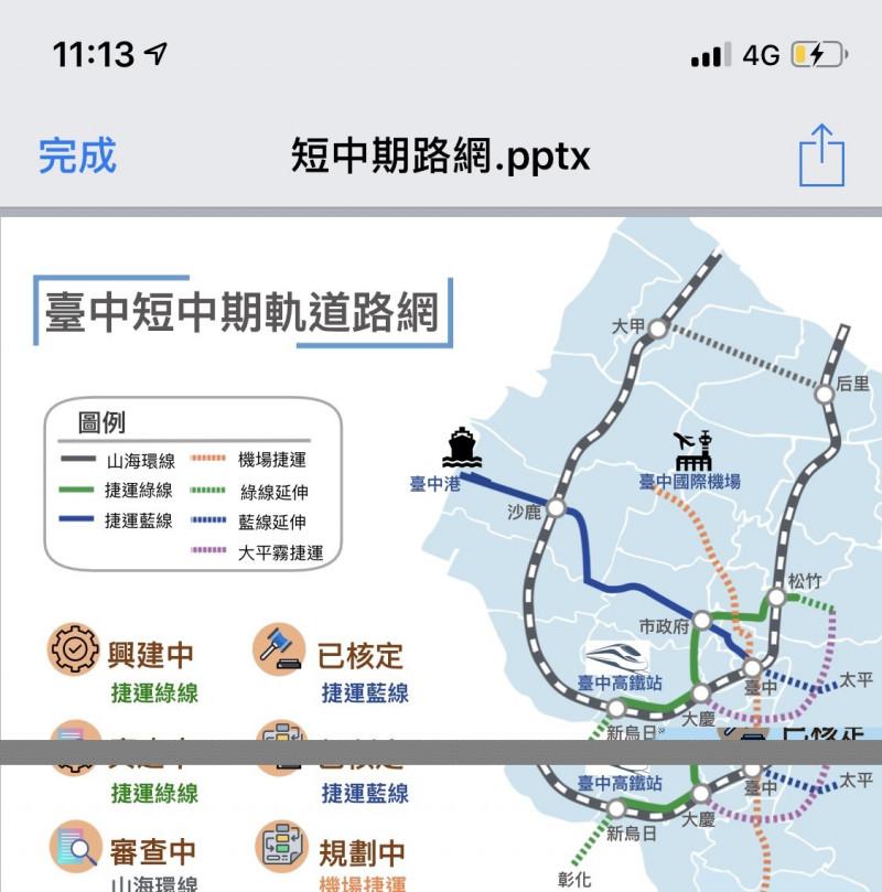 台中市交通局的捷運路網圖引起討論,尤其是太平是採大平霧捷運還是藍線延伸,都各有支持論點。(記者唐在馨翻攝)