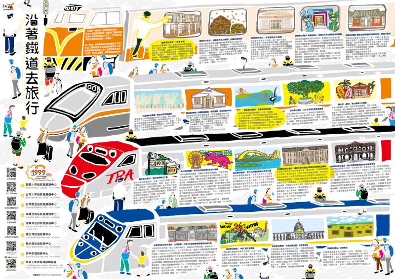 南市觀光旅遊局推出插畫摺頁,遊客沿著鐵道旅行台南,可透過各種交通方式探索鐵道與周邊地區采風。(記者王涵平翻攝)