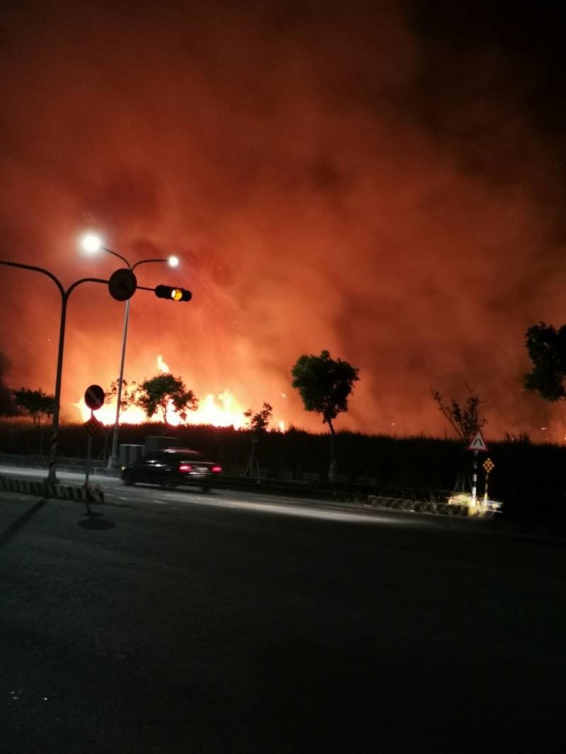 火燒甘蔗園,烈焰沖天。(讀者提供)