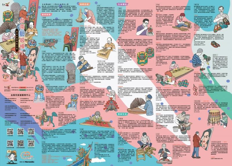 古都台南處處可見建築等傳統工藝之美,南市觀光旅遊局推「台南藝級棒」插畫摺頁地圖,透過旅行的方式,認識在地工藝之美。(記者王涵平翻攝)