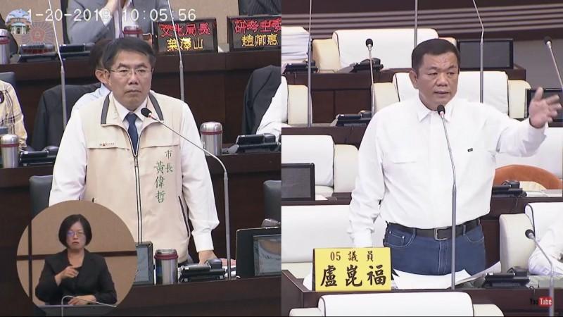 盧崑福議員於市政總質詢時關切九份子重劃區是否誤用爐渣染毒一事。(記者王姝琇翻攝)