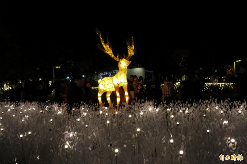 縣府傳播處今年在屏東公園設置超過10組特色燈飾及光環境。(記者邱芷柔攝)