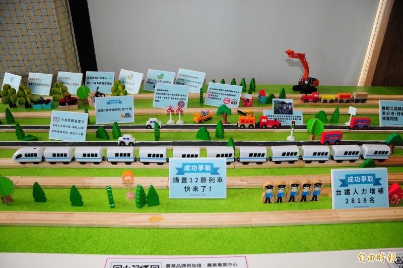 蕭美琴競選總部用可愛火車模型,呈現這幾年她為東部爭取交通,在立院爭取所到的各項政策及經費。(記者花孟璟攝)