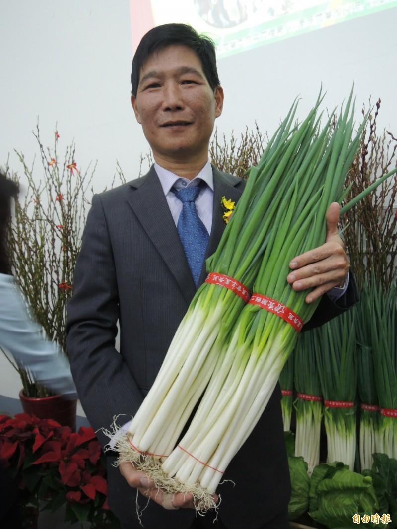 三星蔥今年拍賣金額超過2億元,創下14年來新高。(記者江志雄攝)
