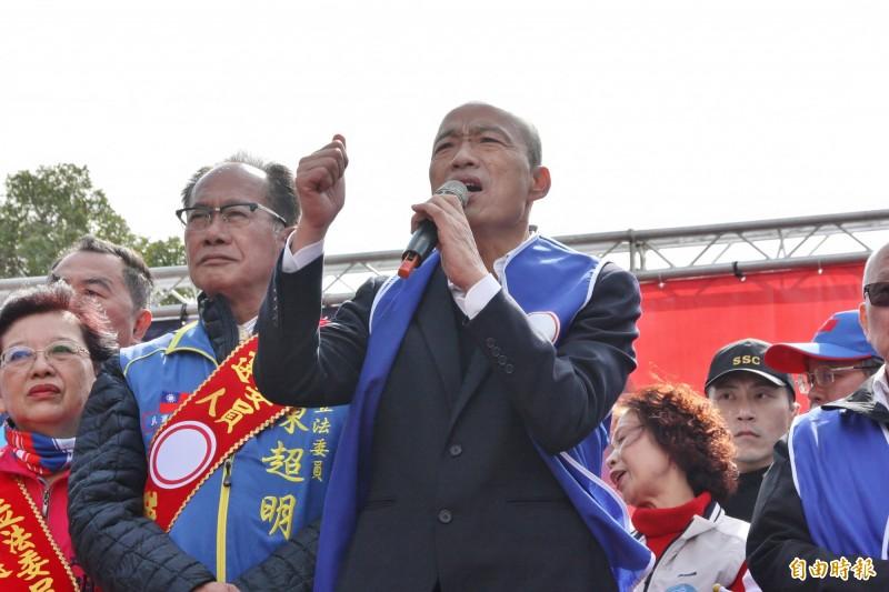 韓國瑜在苗栗出席與藍營立委陳超明的造勢活動。(記者許麗娟攝)