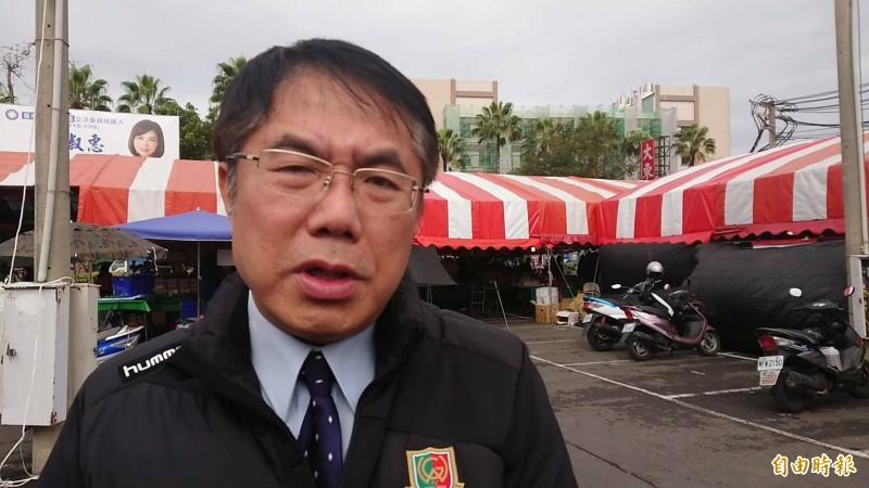 民進黨台南競總主委、台南市黃偉哲分析台南選情。(記者洪瑞琴攝)