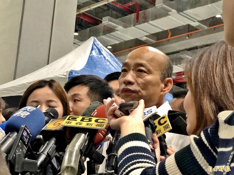 韓國瑜批評,謝長廷身為外交大使,不應對台灣大選指指點點。(記者許麗娟攝)