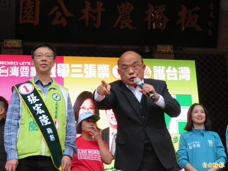 蘇貞昌認為韓國瑜說蔡英文被新潮流架空的說法,是把國民黨的內鬥套到民進黨身上。(記者何玉華攝)