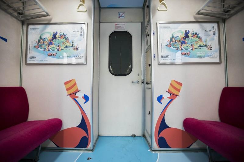 新竹動物園推動物彩繪列車。(市府提供)