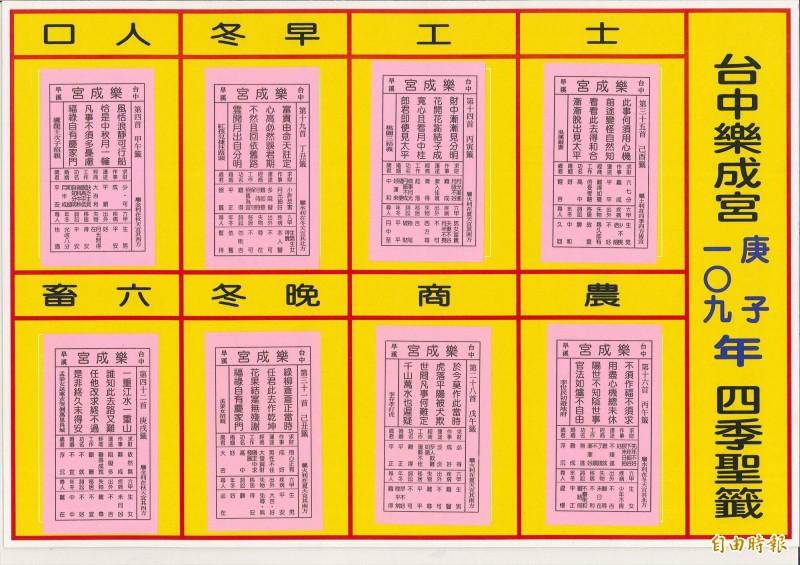 (記者楊政郡攝)台中市東區樂成宮今年四季聖籤、國運籤則是中上籤