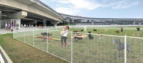 新竹市環保局進行頭前溪「新竹左岸」狗狗公園優化工程,將投入1460萬元進行改善,預計5月動工,年底完工。優化後,不僅面積加大、空間變大,更有大狗狗及小狗狗的區隔,將是竹市首座寵物狗狗示範公園。圖為優化後示意圖。(記者洪美秀翻攝)