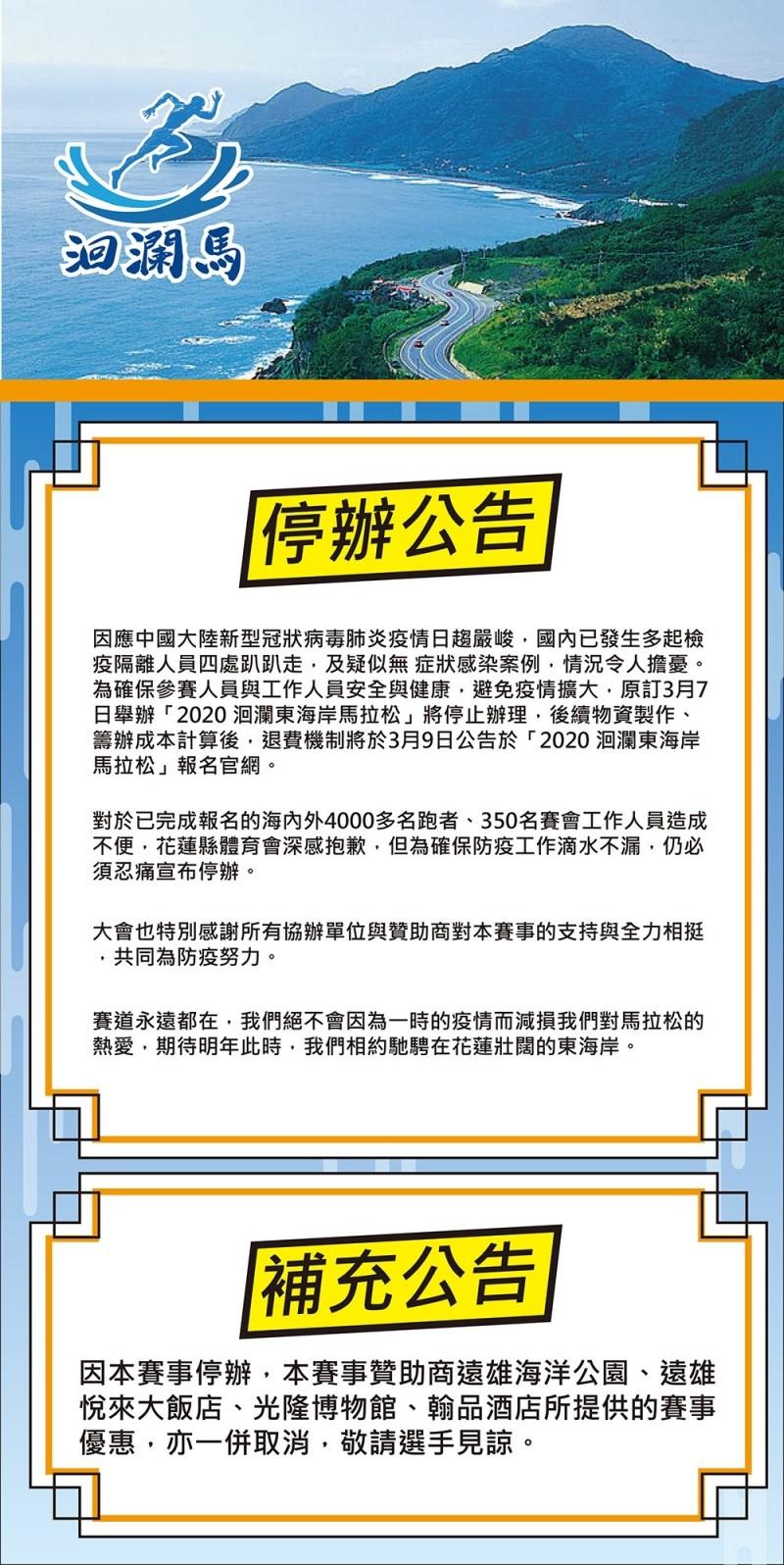 花蓮縣體育會原本預計在3月7日舉行的「洄瀾東海岸馬拉松」(簡稱洄瀾馬),主辦單位今天宣布停辦。(翻攝報名網站)