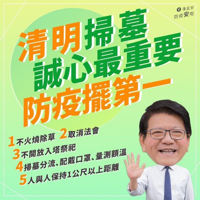屏東縣長潘孟安臉書以最容易讓民眾理解的圖文呈現防疫觀念。(取自潘孟安臉書)