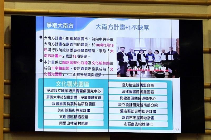 嘉義市政府提出大南方計畫+1共13項提案。(記者林宜樟翻攝)