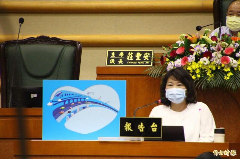 嘉義市長黃敏惠進行施政報告。(記者林宜樟攝)