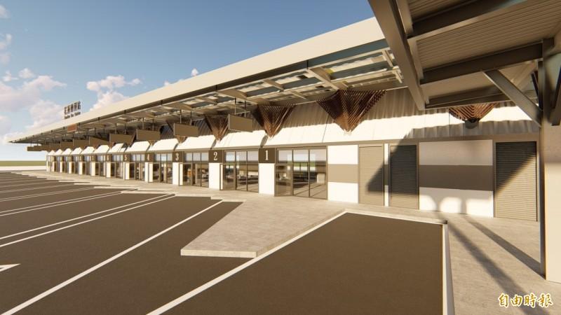 花蓮先期轉運站外觀設計已完成,建築體為平面一層樓,基地面積1490坪、室內空間200坪,設有空調、雨遮及無障礙空間,共計13個月台、整合9家客運業者進駐。(花蓮縣政府提供)
