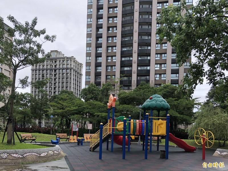 民眾認為,芳洲公園唯一的遊具已無法滿足各年齡層孩童使用。(記者周湘芸攝)