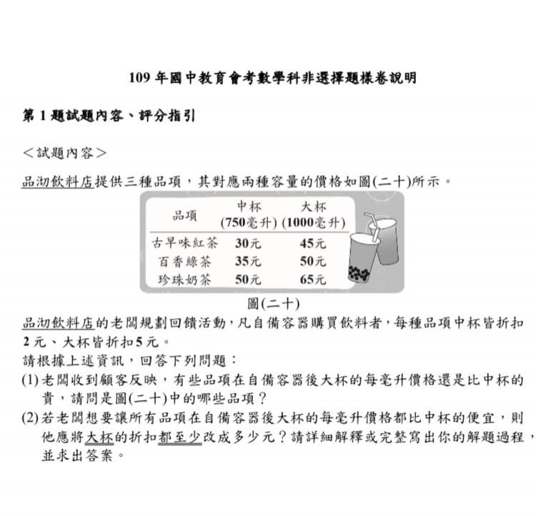 國中會考數學非選題考出珍珠奶茶,台師大教授謝豐瑞表示,雖只須國小計算能力,但考生要看懂題目問的關鍵字「每毫升」。(記者林曉雲翻攝)