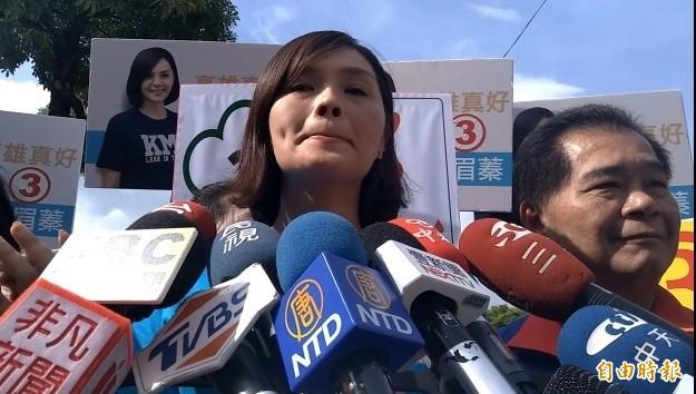 李眉蓁對MV涉及侵權案說「抱歉」,她眼眶泛紅﹑情緒激動。(記者洪定宏攝)