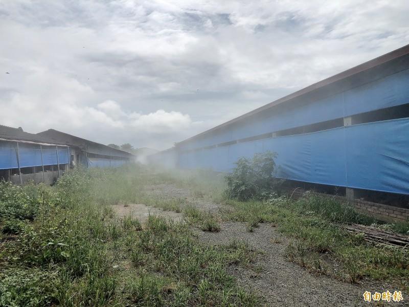 養雞場業者允諾1週內改善將除臭噴霧24小時開啟。(記者許麗娟攝)
