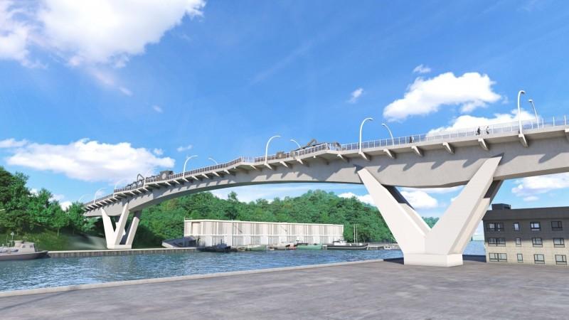 南方澳跨港大橋今天啟動重建工程,全力兌現3年內完工的支票,圖為新橋藍圖。(圖由蘇花改工程處提供)