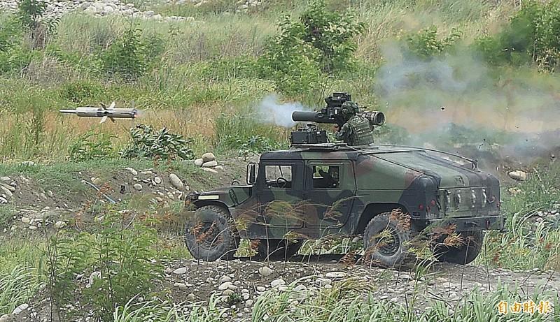 陸軍拖式飛彈發射。(記者廖振輝攝)