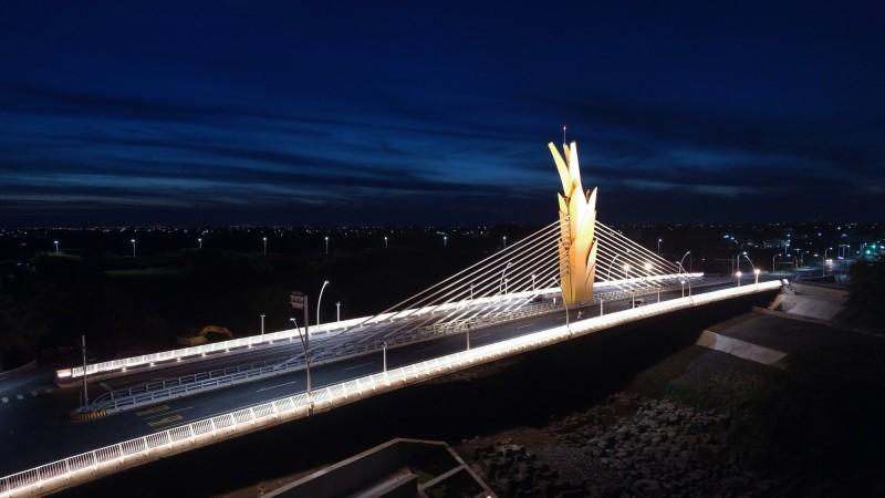 雲禾大橋稻穗意象吸睛,已成雲林新地標。(圖由雲林縣政府提供)