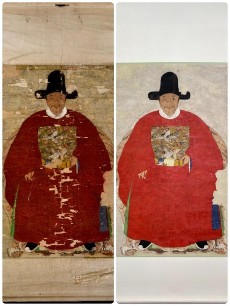 金門「蔡復一畫像」獲文化部公告為國家重要古物。金門縣文化局委外修復前(左)、後(右)對照圖。(圖由金門縣文化局提供)